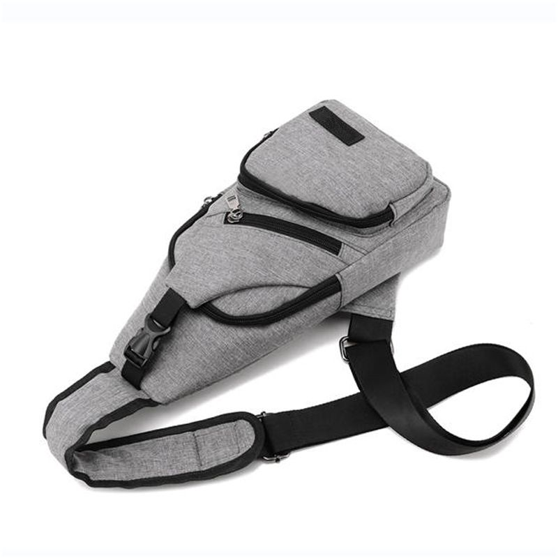 Mini Mochila Bolsa Alça Única Cross Body USB Cadernos Tablet Smartphone Vários Bolsos Cinza  - Mundo Thata