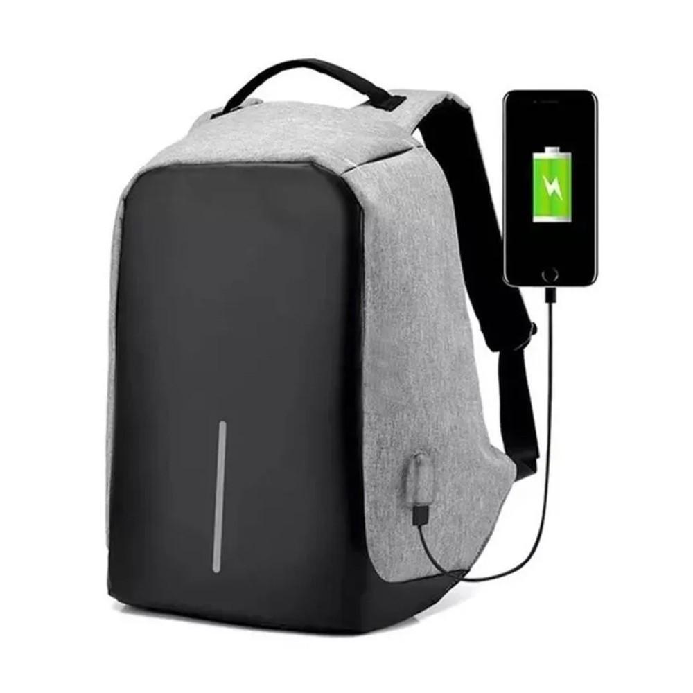 Mochila Anti Furto Cinza Dois Bolsos Internos Saída USB Carregamento De Dispositivos  - Mundo Thata