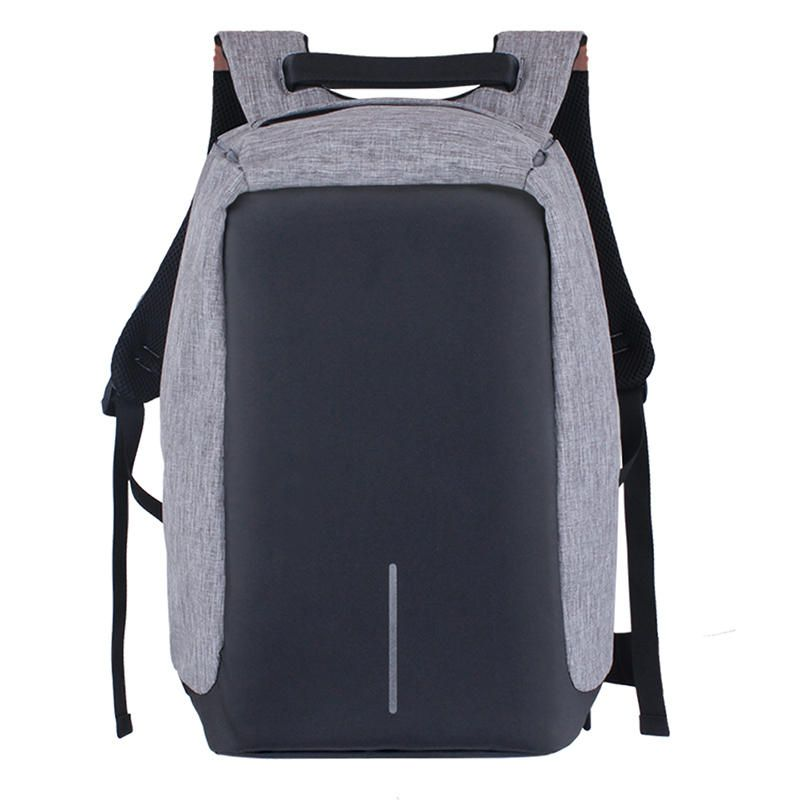 Mochila Anti-furto Cinza Compartimento Para Notebook Laptop Saída USB Carregamento De Dispositivos  - Thata Esportes