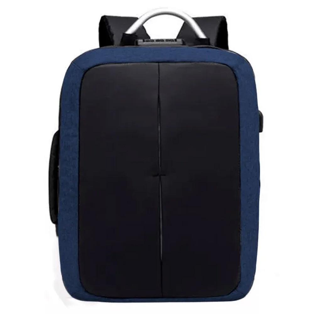 Mochila Anti Furto Preta com Azul Impermeável Cadeado Alças de Metal Notebook USB  - Mundo Thata