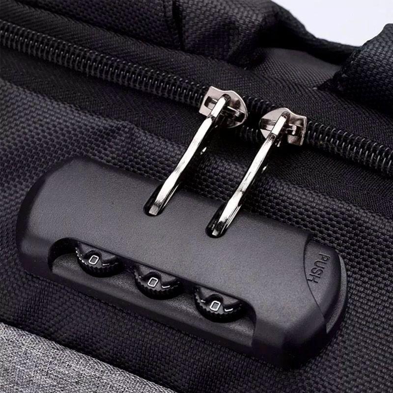 Mochila Anti Furto Preta com Cinza Impermeável Cadeado Alças de Metal Notebook USB  - Thata Esportes