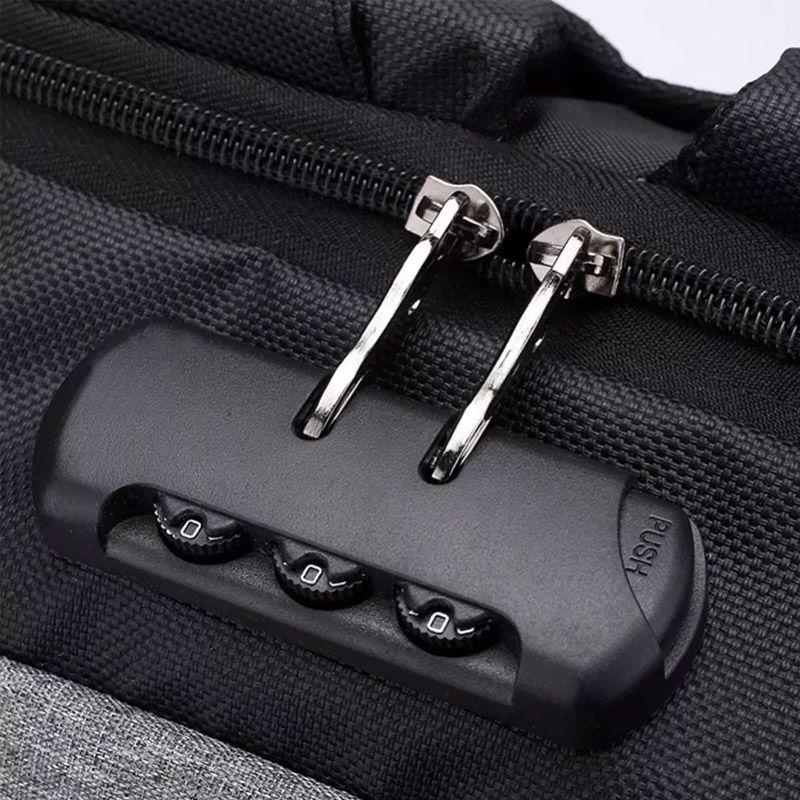 Mochila Anti Furto Preta Impermeável Cadeado Alças de Metal Notebook USB  - Thata Esportes