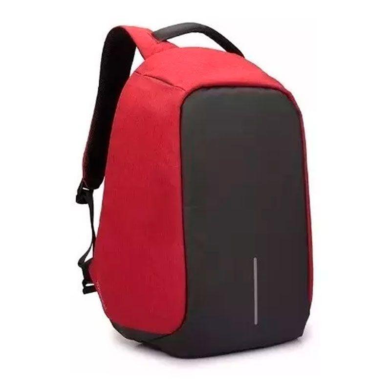 Mochila Anti-furto Vermelha Compartimento Para Notebook Laptop Saída USB Carregamento De Dispositivos  - Mundo Thata