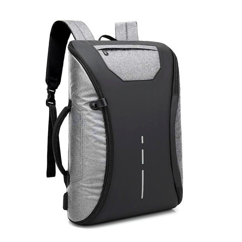 Mochila Mala Bolsa Anti Furto Cinza Alça Lateral Notebook USB Viagem Impermeável  - Mundo Thata