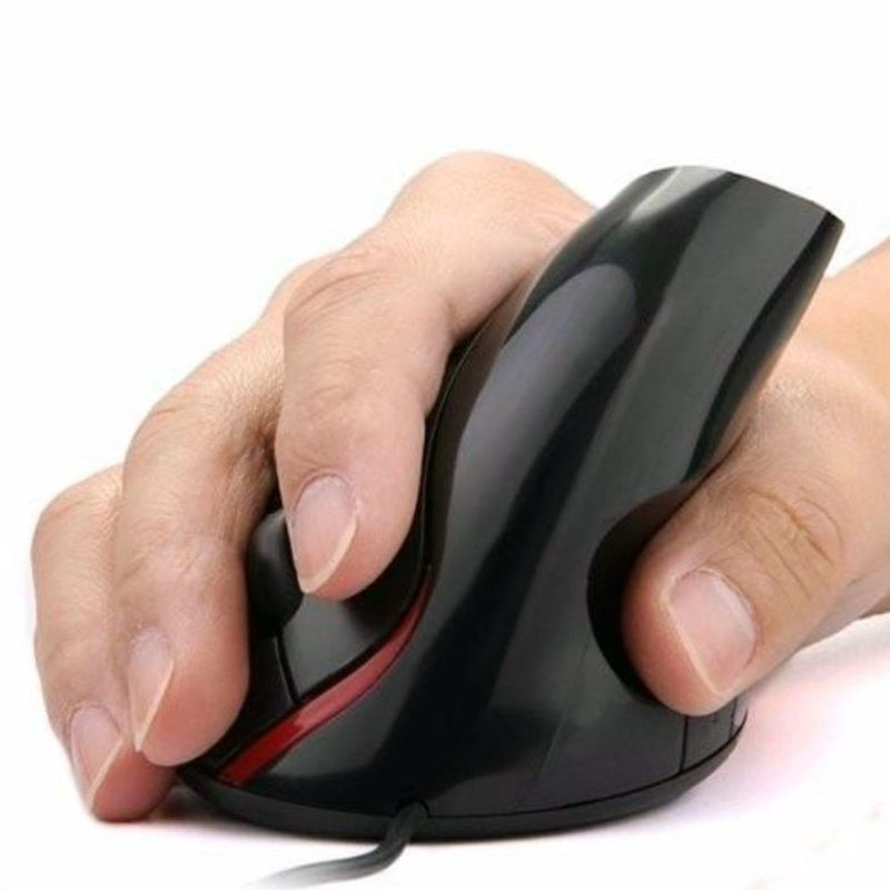 Mouse Óptico Vertical Ergonômico Sem Fio Carregamento Wireless Previne Tendinite  - Thata Esportes