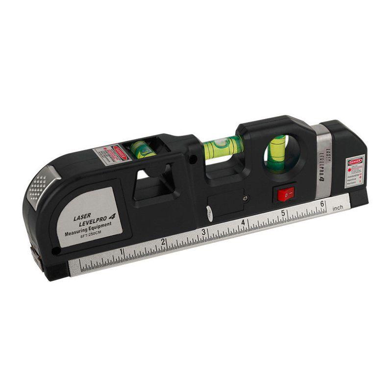 Nível Level Pro Laser Infravermelho Horizontal Vertical Cruz Prumo Trena 250 cm Régua 16 cm  - Thata Esportes