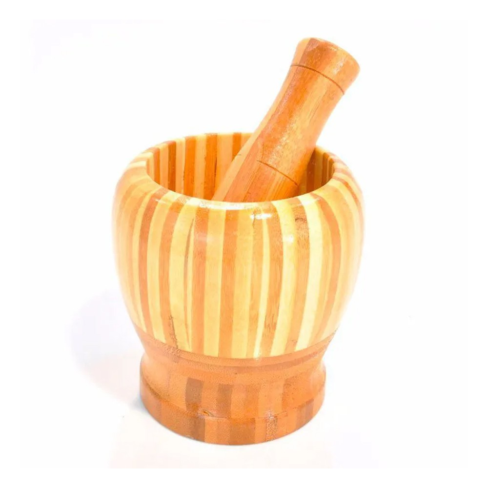 Pilão de Bambu Madeira com Socador Reforçado Alho Cozinha Culinária  - Mundo Thata