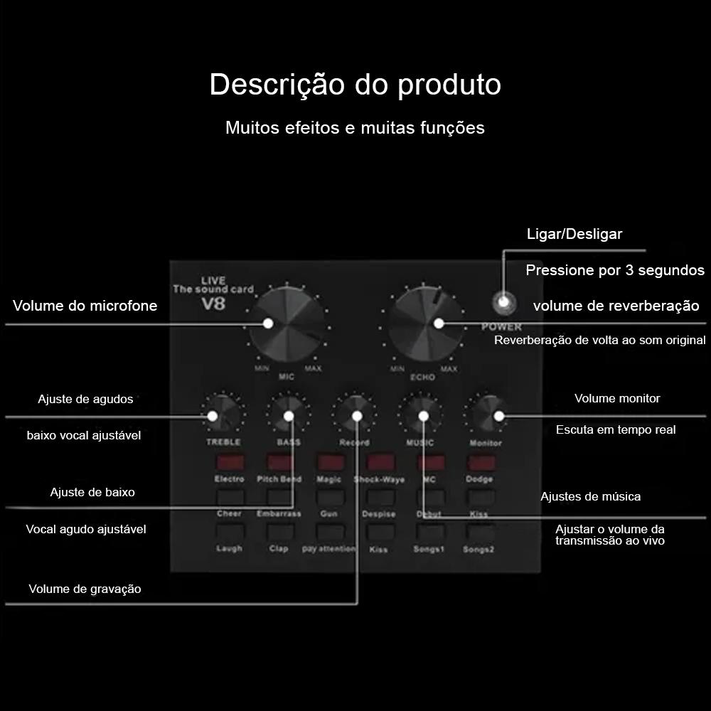 Placa De Som Externo V8 Áudio Usb Microfone Fone De Ouvido  - Mundo Thata