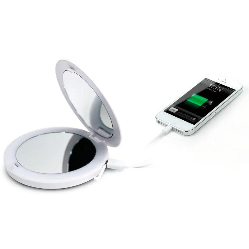 Power Bank Carregador Externo com Espelho e LED Maquiagem 2 em 1 6000 mAh  - Mundo Thata