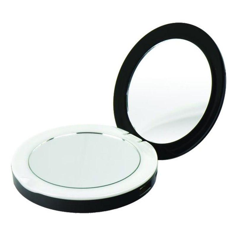 Power Bank Carregador Externo com Espelho e LED Maquiagem 2 em 1 6000 mAh Preto  - Mundo Thata