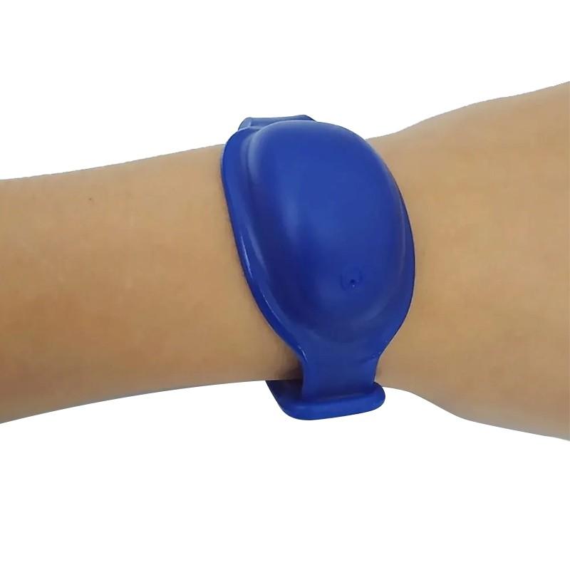 Pulseira de Biossegurança Silicone Porta Álcool Gel Extra Macia Tamanho Único 8 ml Azul  - Mundo Thata