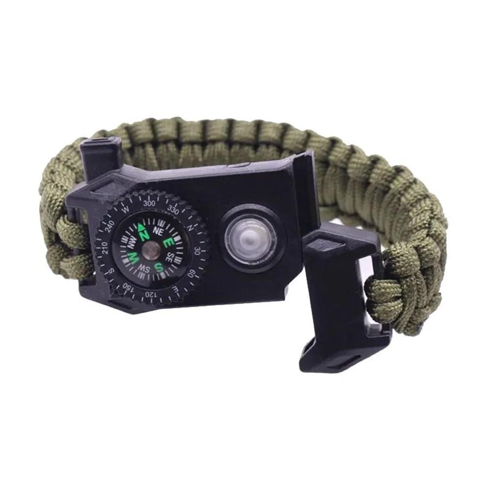 Pulseira Militar de Sobrevivência Multi Função LED SOS Apito Corda de Resgate  - Mundo Thata