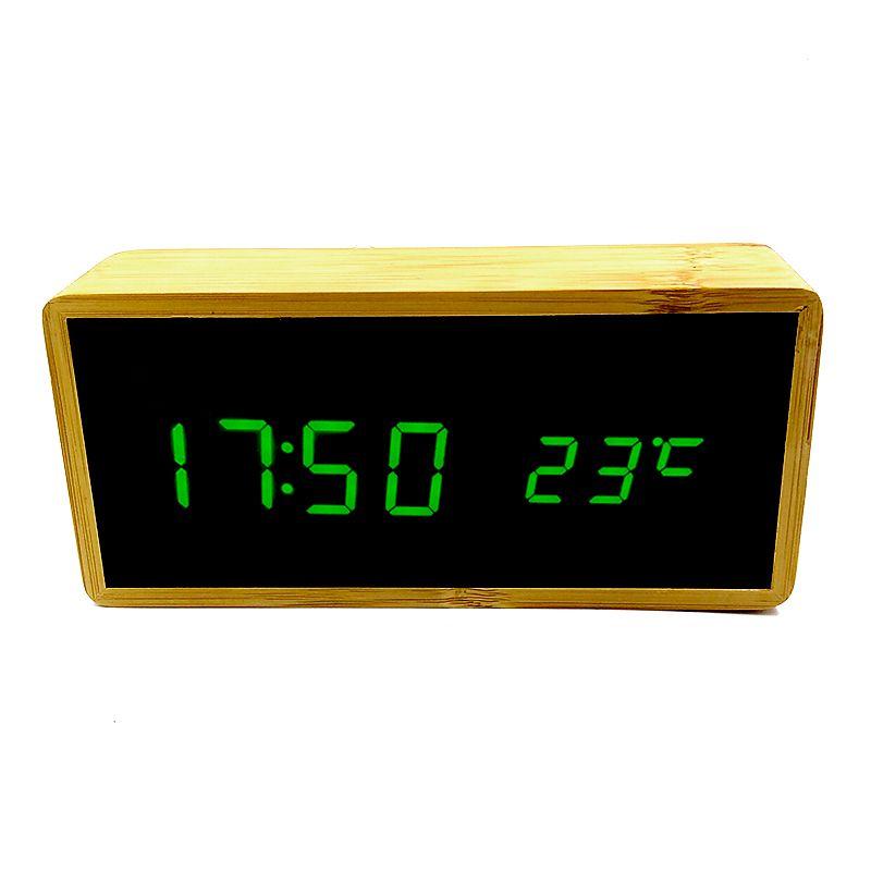 Relógio de Mesa Despertador Termômetro Madeira LED Verde  - Mundo Thata