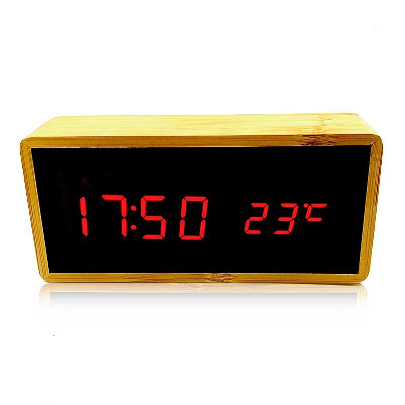 Relógio de Mesa Despertador Termômetro Madeira LED Vermelho  - Thata Esportes