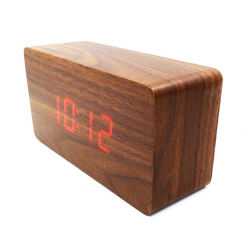 Relógio Despertador Termômetro Madeira LED Acionado por Som ou Palmas  - Mundo Thata