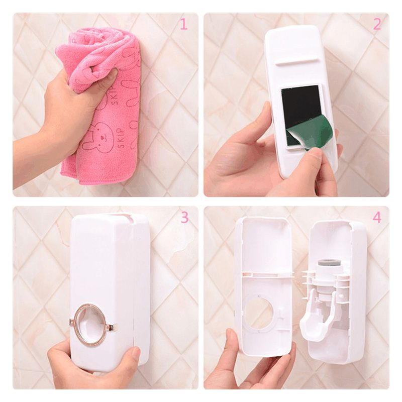 Conjunto Suporte de Escovas + Dispenser Branco Para Creme Dental  - Thata Esportes