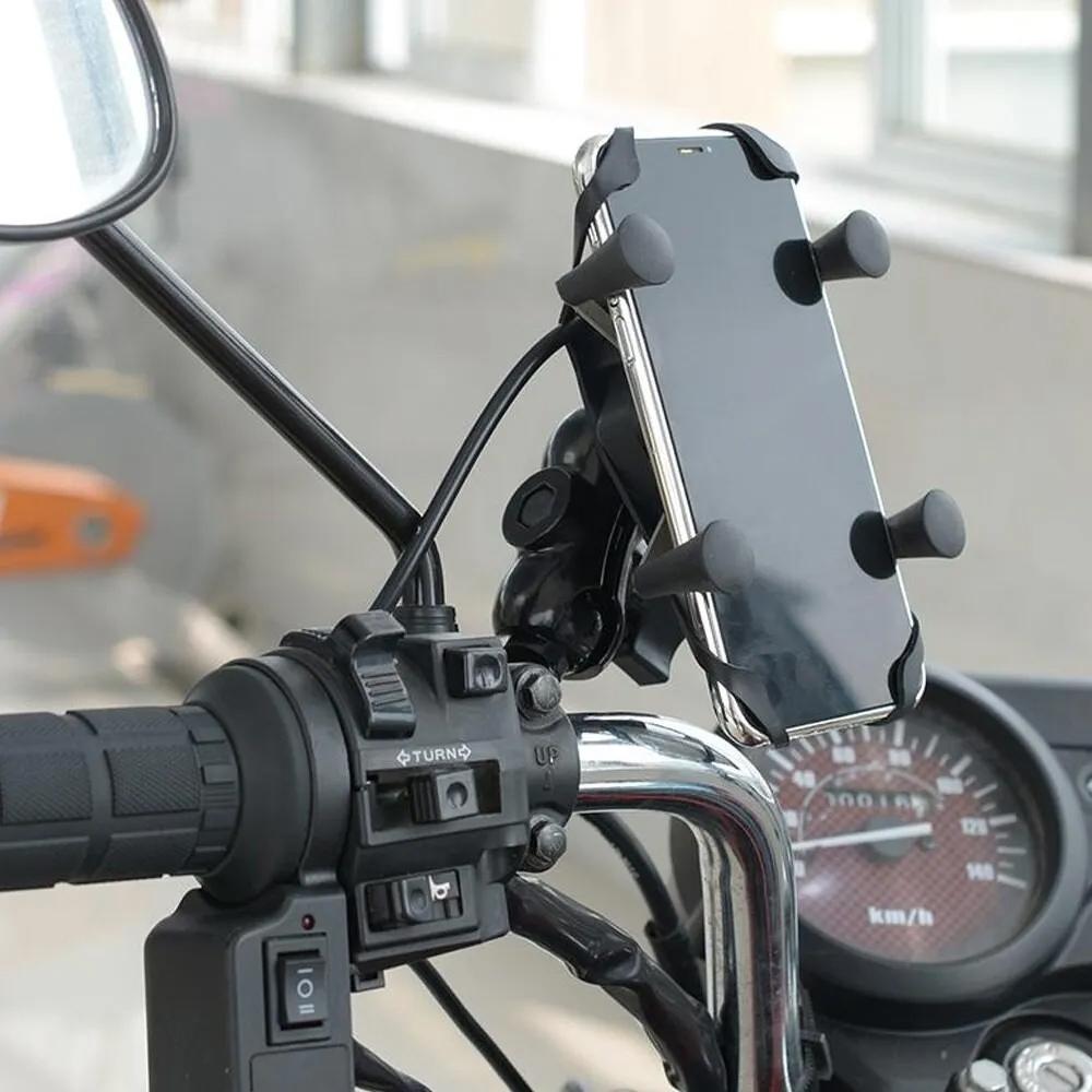 Suporte Multifuncional Garra para Celular Moto Universal com Carregador USB  - Mundo Thata