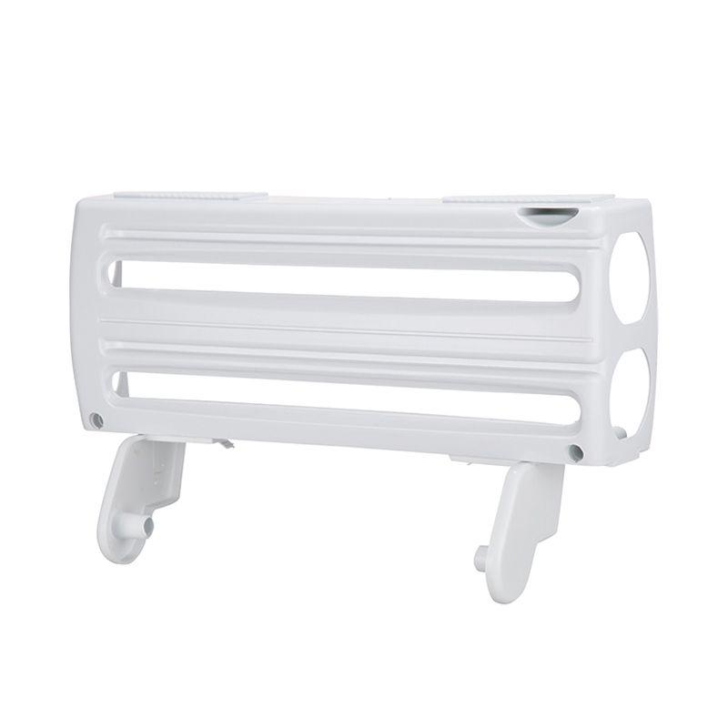 Suporte Porta Rolo 3 em 1 Papel Toalha Alumínio PVC Cortador Deslizante  - Mundo Thata