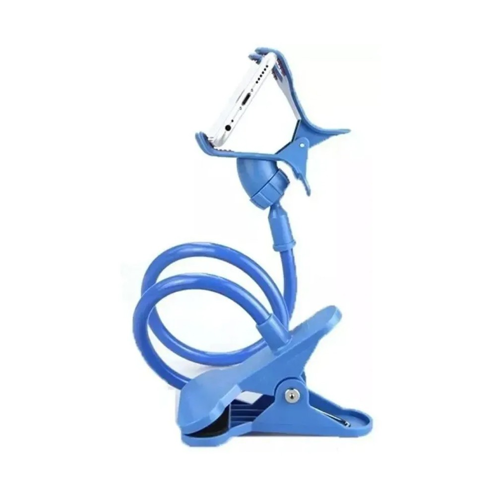 Suporte Universal Celular Articulado Pescoço Ganso Grampo Mesa Azul  - Mundo Thata