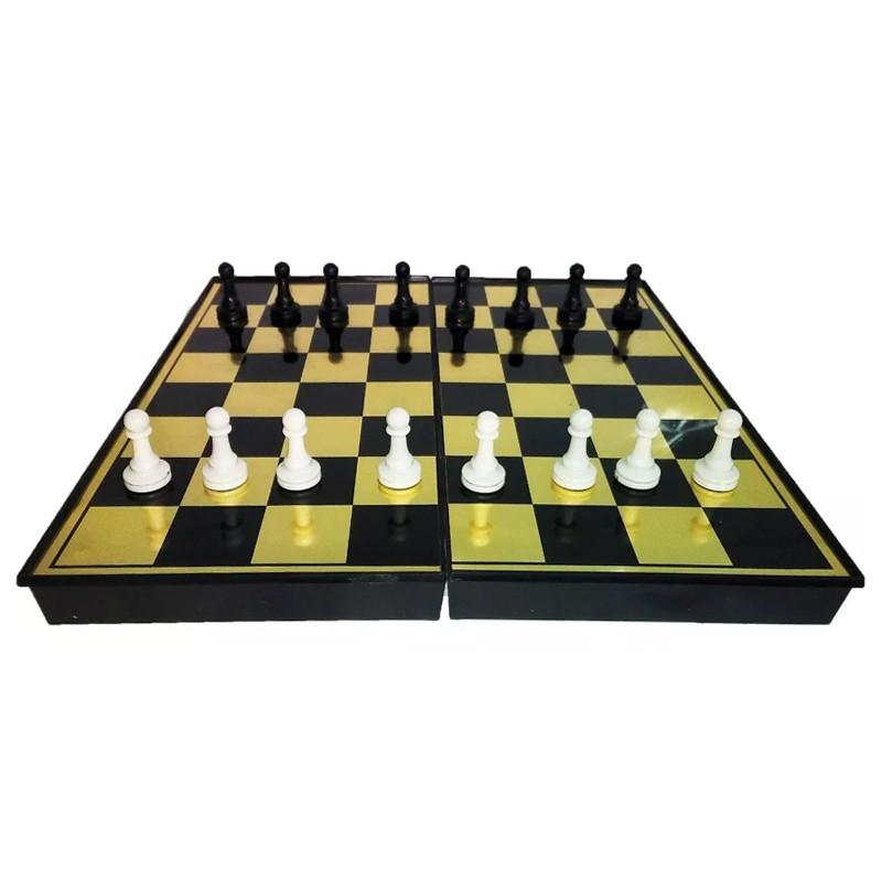 Tabuleiro Dobrável 2 em 1 Xadrez e Dama Peças Magnéticas  - Thata Esportes