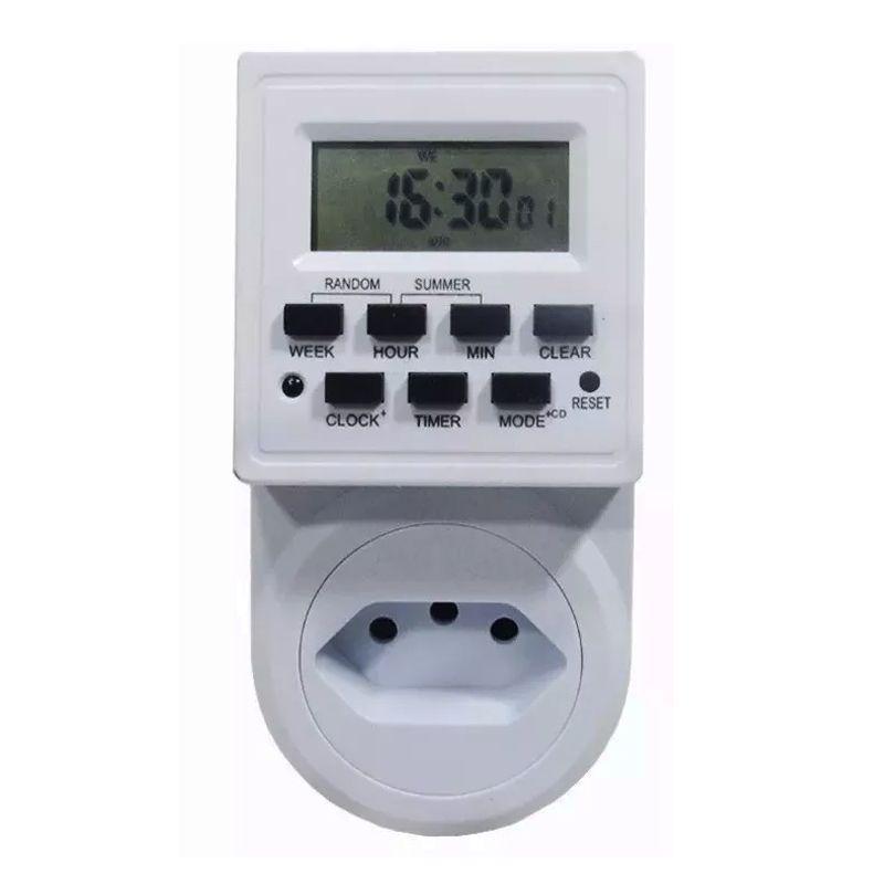 Temporizador Timer Digital 127V-220V Tomada Programável Liga e Desliga  - Thata Esportes