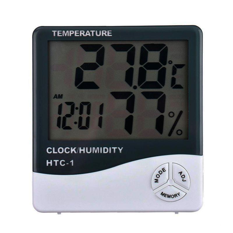 Termômetro Higrômetro Medidor de Temperatura Umidade Interno e Externo HTC-1  - Thata Esportes
