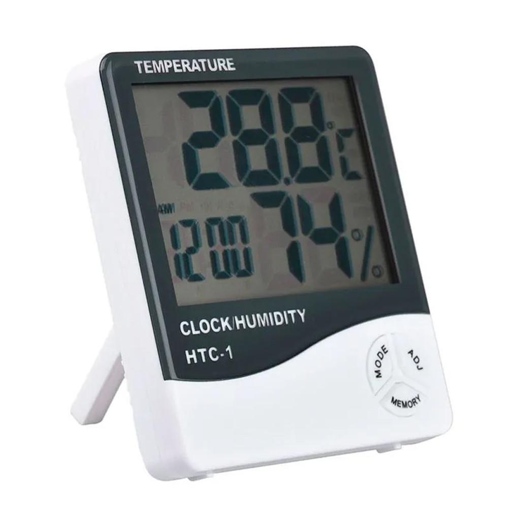 Termômetro Higrômetro Medidor de Temperatura Umidade Interno e Externo HTC-1  - Mundo Thata