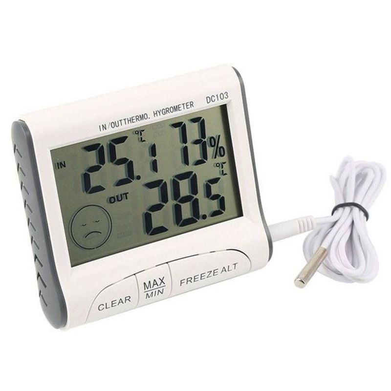 Termômetro Interno Externo Digital Higrômetro Interno Máxima e Mínima LCD  - Thata Esportes