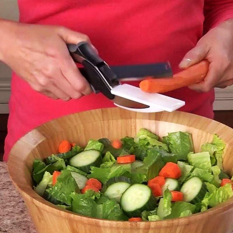 Tesoura Faca Tábua de Corta Legumes Verduras Clever Cutter  - Thata Esportes