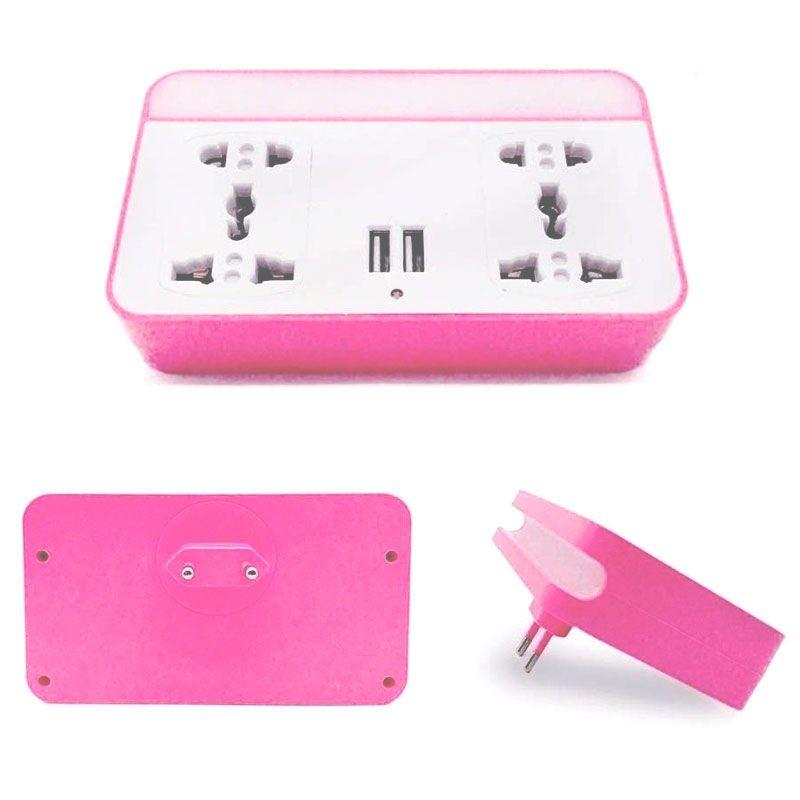 Tomada Dupla Adaptador Multifuncional Universal LED USB Com Suporte de Celular  - Mundo Thata
