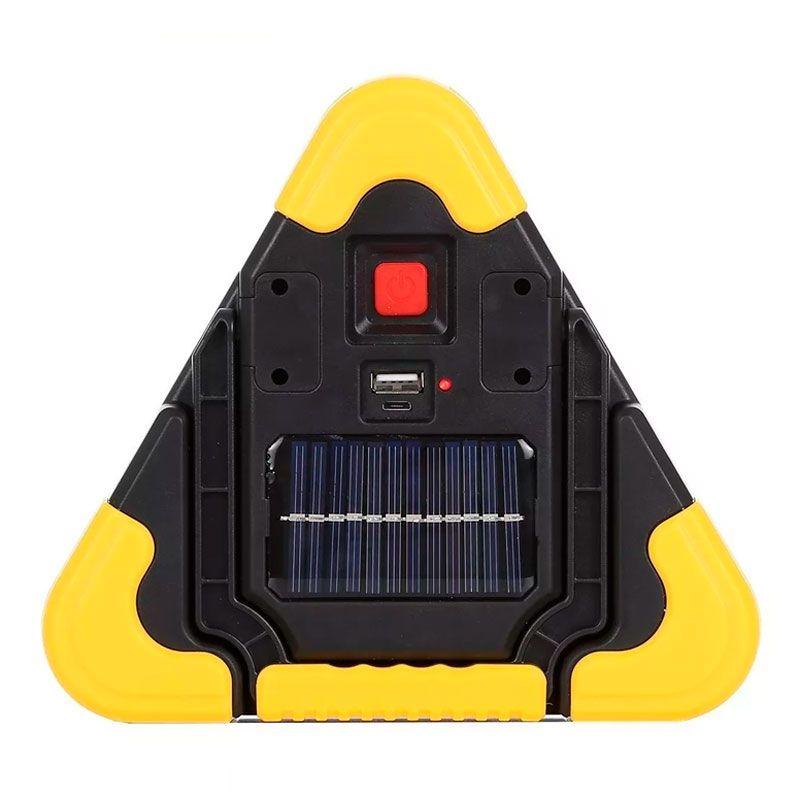 Triângulo Refletor Luminária Recarregável Luz Solar Super LED Luminoso Sinalização Carro Caminhonete  - Mundo Thata