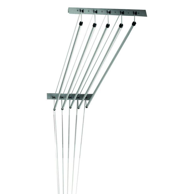 Varal de Teto Parede com 5 Varetas Individuais em Alumínio 1 Metro  - Mundo Thata