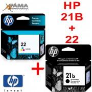 KIT COMPOSTO POR 1 CARTUCHO C9351BB HP 21B PRETO 7ML + 1 CARTUCHO HP C9352AB HP 22 COLORIDO 6ML