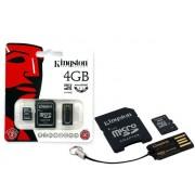 CARTAO DE MEMORIA KINGSTON MBLY4G2/4GB MULTIKIT COM MICRO SDHC DE 4GB + ADAPTADOR SD + ADAPTADOR USB