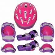 Kit de Proteção Radical Pink com Capacete EPS Joelheira Cotoveleira Luva - Tamanho P - Bel Sports 411100