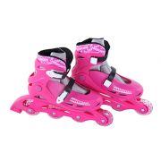 Patins In-Line Roller Radical Ajustável Rosa – Tamanho G (36 a 39) – Bel Sports 367600