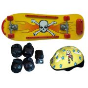 Skate Radical Iniciante Caveira com Kit de Proteção Completo Bel Sports - 411900