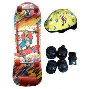 Skate Radical Iniciante Mega Boy com Kit de Proteção Completo Bel Sports - 411900