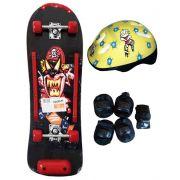 Skate Radical Iniciante Pirata com Kit de Proteção Completo Bel Sports - 411900