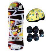 Skate Radical Iniciante Sting Wasp com Kit de Proteção Completo Bel Sports - 411900