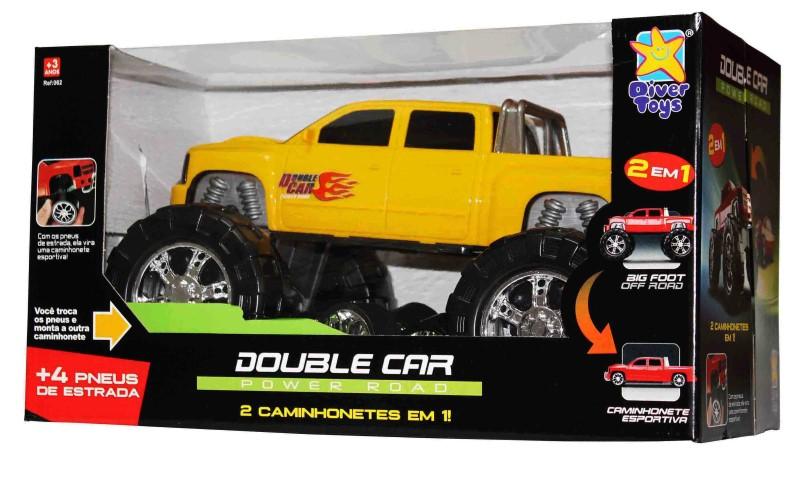 Caminhonete ou Big Foot Amarela 2 em 1 Double Car Power Road Diver Toys 062  - FAMATECNOSHOP