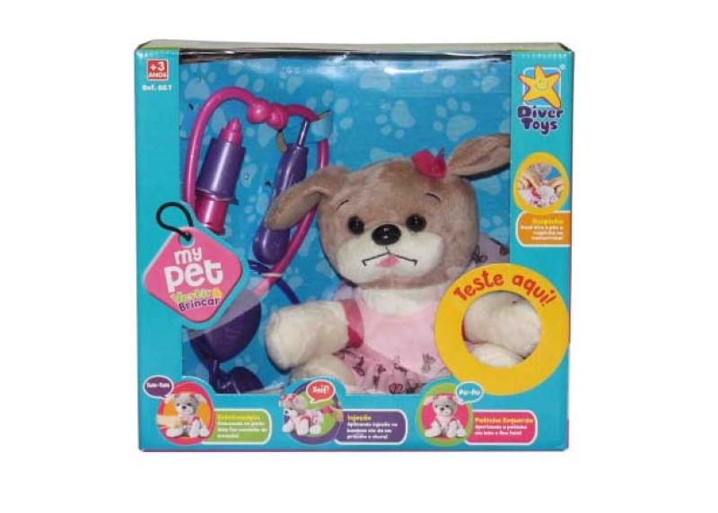 Cachorrinha de Pelucia My Pet Vestir e Brincar c/ Dispositivo Eletrônico Diver Toys 667  - FAMATECNOSHOP