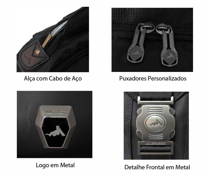 Mochila Esportiva p/ Notebook Luxcel Preta Adventeam - MJ48100AD  - FAMATECNOSHOP