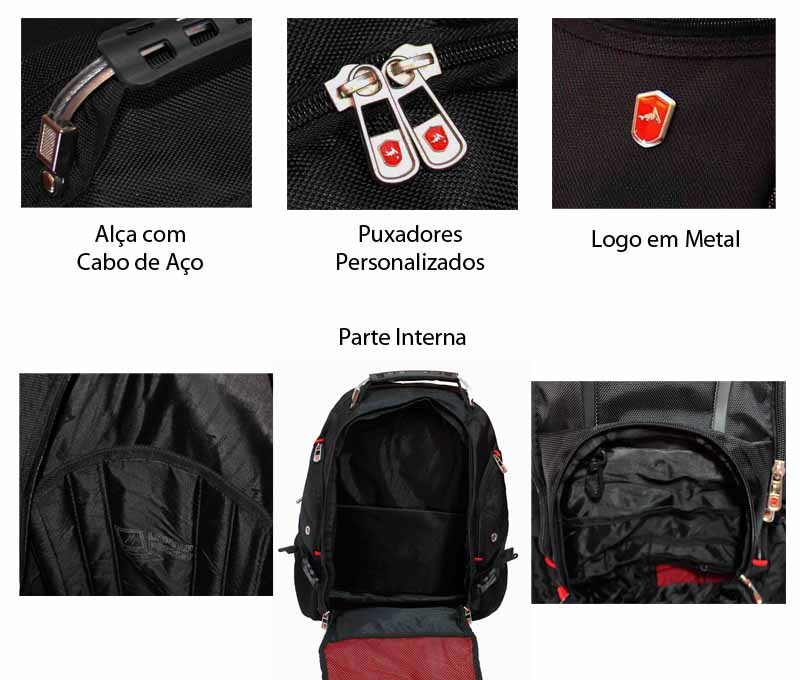 Mochila Esportiva p/ Notebook Luxcel Preta ADVENTEAM - MS356NW  - FAMATECNOSHOP
