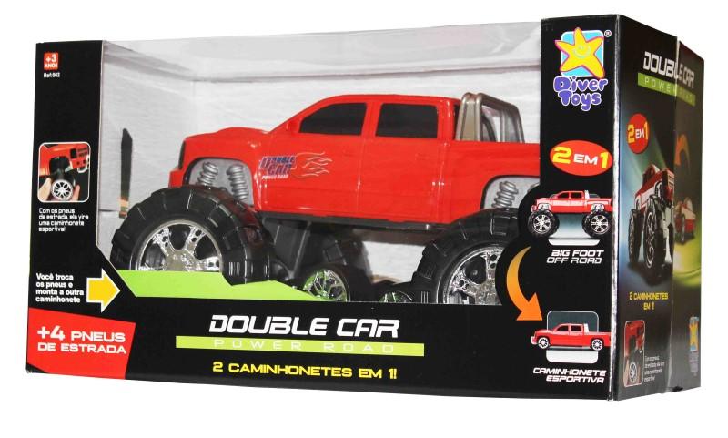 Caminhonete ou Big Foot Vermelha 2 em 1 Double Car Power Road Diver Toys 062  - FAMATECNOSHOP