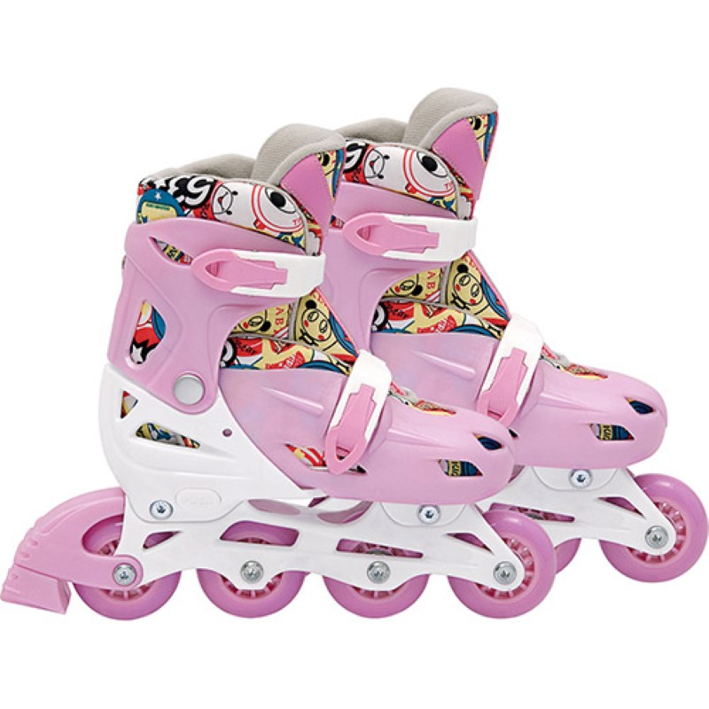 Patins In-Line Roller Kids Ajustável Rosa – Tamanho M (32 a 35) – Bel Sports 367800  - FAMATECNOSHOP