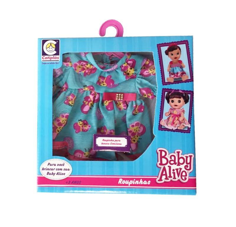 Roupinhas Boneca Baby Alive - Vestido com Borboletas - Cotiplas 2107  - FAMATECNOSHOP