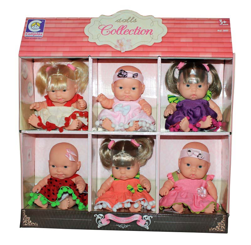 Kit Contendo 6 Bonecas Dolls Collection no Display Cotiplas - 1837  - FAMATECNOSHOP
