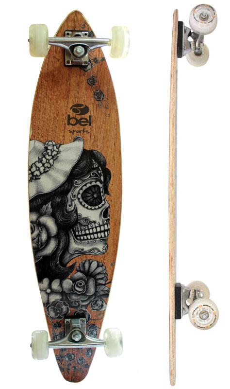 Skate Longboard Bel Sports Caveira Feminina 95 cm ABEC-5 - 465700  - FAMATECNOSHOP
