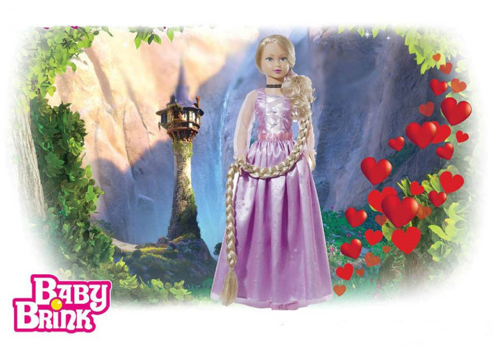 Boneca Stephany Sonhos de Princesas Rapunzel 78cm Baby Brink - 1946  - FAMATECNOSHOP